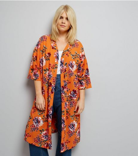 Curves Orange Floral Print Longline Kimono | New Look
