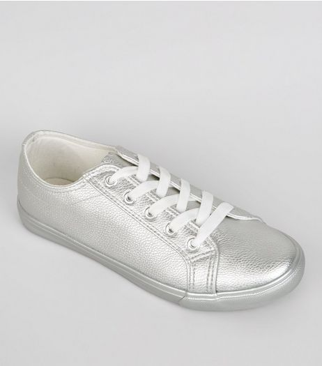 Wide Fit Silver Metallic Trainers | New Look