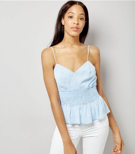 Blue Spot Shirred Cami | New Look