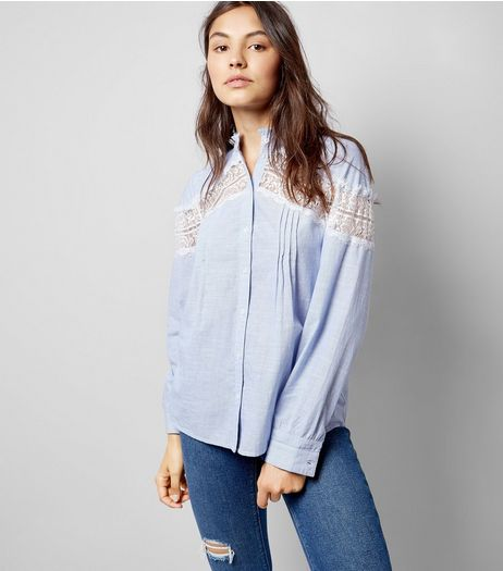 Blue Lace Insert Shirt | New Look