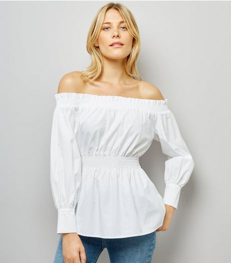 White Shirred Bardot Neck Top | New Look