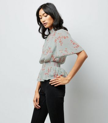Green Floral Shirred Waist Blouse