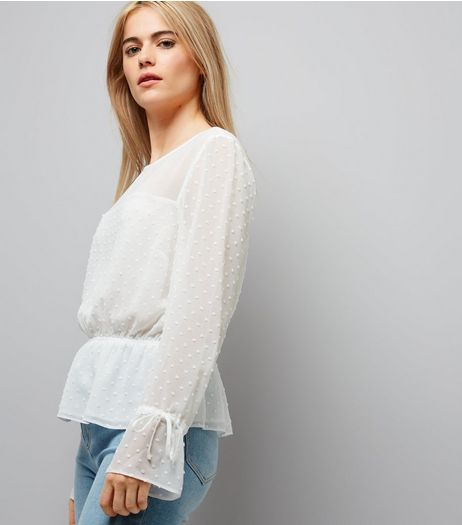 White Spot Textured Chiffon Top  | New Look