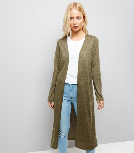 Khaki Maxi Cardigan  | New Look