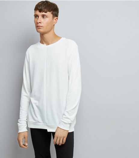 Off White Spliced Sweater | New Look
