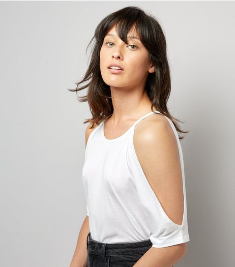 White Cold Shoulder T-Shirt | New Look