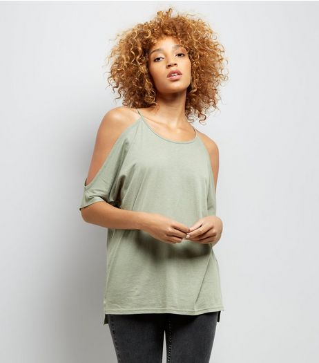Khaki Cold Shoulder T-Shirt | New Look