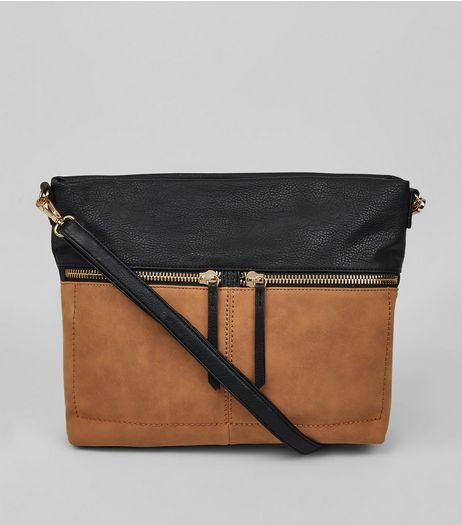 Tan Colour Block Zip Shoulder Bag | New Look
