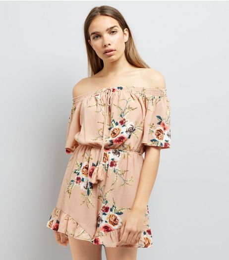 Parisian Pink Floral Print Bardot Playsuit | New Look