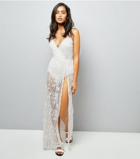 Parisian White Floral Mesh Maxi Dress | New Look