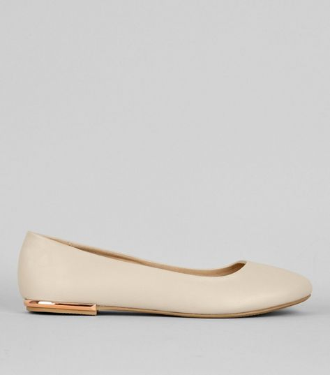 Wide Fit Nude Metal Heel Ballerina Pumps | New Look