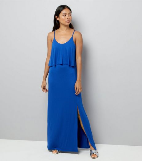 Petite Blue Layered Split Side Maxi Dress | New Look