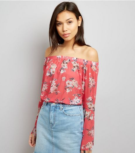 Orange Floral Print Mesh Fluted Sleeve Bardot Top | New Look