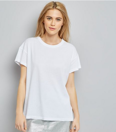 White Distressed Edge T-Shirt | New Look