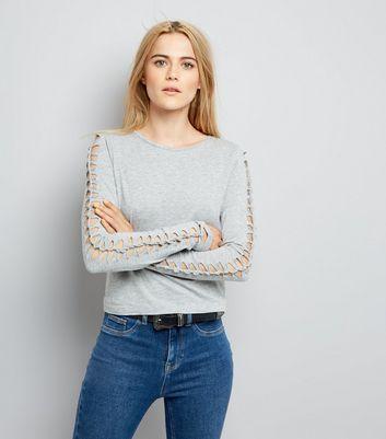 Grey Lattice Long Sleeve Top