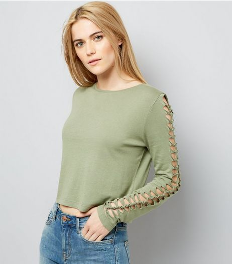 Khaki Lattice Long Sleeve Top | New Look