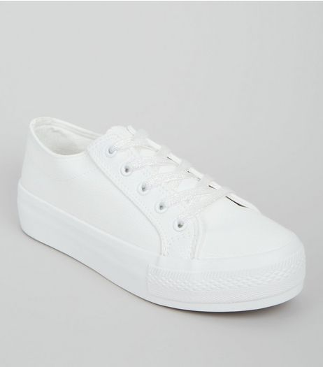 Wide Fit White Iridescent Lace Up Trainers  | New Look