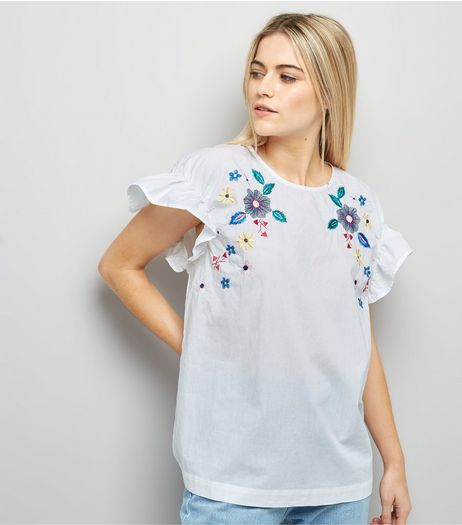 Anita and Green White Floral Embroidered Mesh Top  | New Look