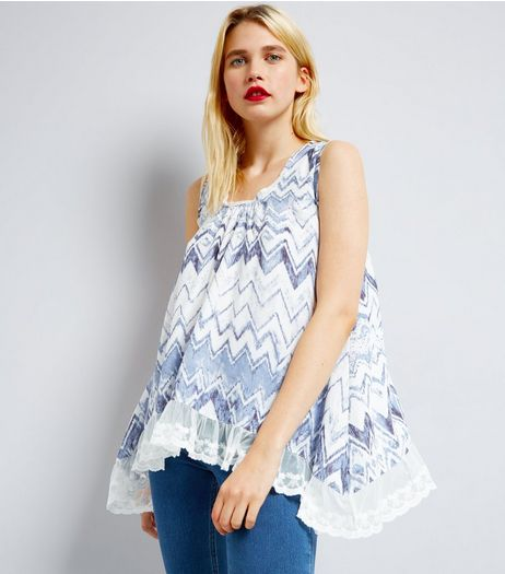 Blue Vanilla Blue Zig Zag Lace Trim Top | New Look
