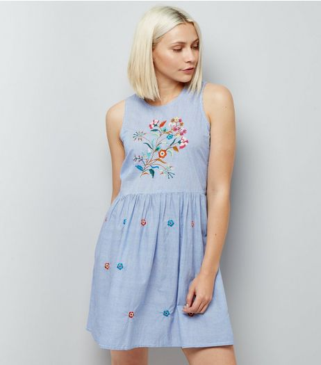 Anita and Green Blue Floral Embroidered Dress | New Look