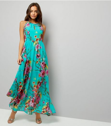 Blue Vanilla Turquoise Floral Print Maxi Dress | New Look