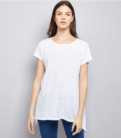 White Hanky Hem T-Shirt  | New Look