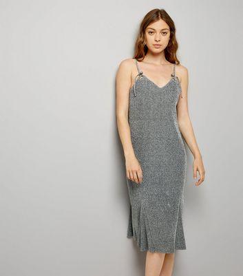 Grey Glitter Eyelet Strap Slip Dress