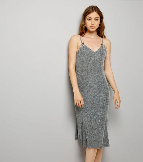 Grey Glitter Eyelet Strap Slip Dress | New Look