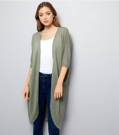 Khaki Cocoon Cardigan  | New Look