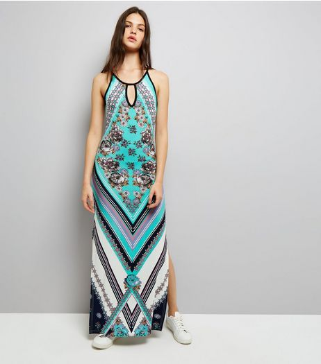 Blue Vanilla Turquoise Abstract Print Maxi Dress | New Look