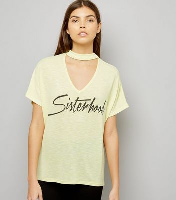 Yellow Choker Neck Sisterhood Slogan T-Shirt