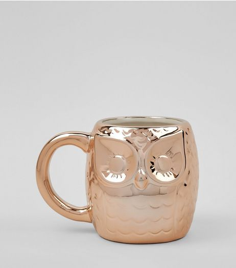 Rose Gold Metallic Owl Mug | New Look