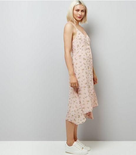 Cameo Rose Shell Pink Floral Print Slip Dress | New Look