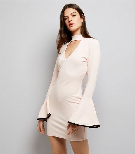 Cameo Rose Shell Pink Bell Sleeve Dress  | New Look