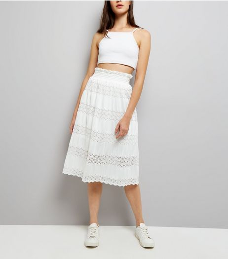 Cameo Rose White Crochet Lace Midi Skirt  | New Look