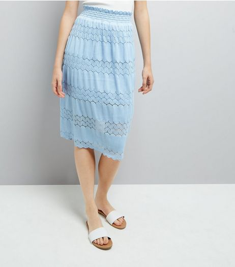 Cameo Rose Blue Crochet Lace Trim Maxi Skirt  | New Look