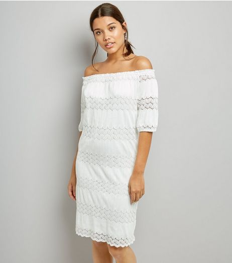 Cameo Rose White Crochet Lace Bardot Neck Dress | New Look