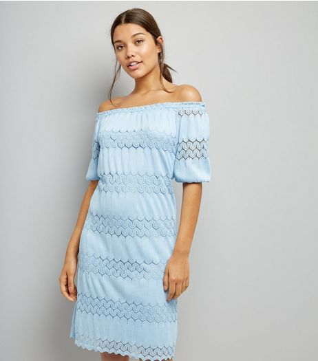 Cameo Rose Blue Cut Out Trim Bardot Neck Dress  | New Look