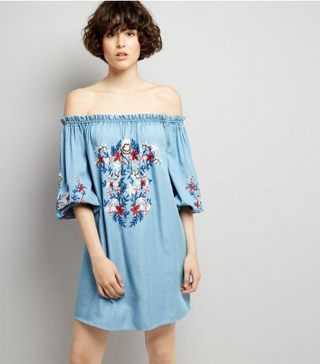 Blue Floral Embroidered Bardot Neck Dress | New Look