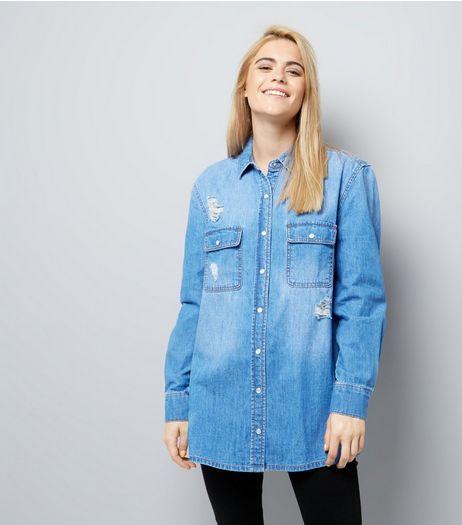 Blue Ripped Boyfriend Denim Shirt | New Look