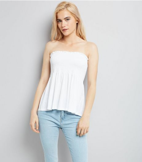 White Shirred Bandeau Neck Swing Top | New Look