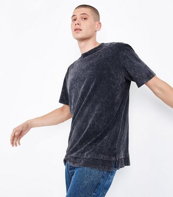Grey Double Layered Acid Wash T-Shirt