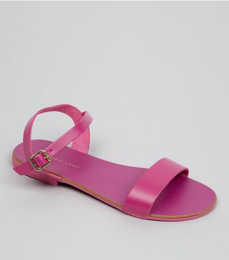 Wide Fit Pink Leather Ankle Strap Sandals | New Look
