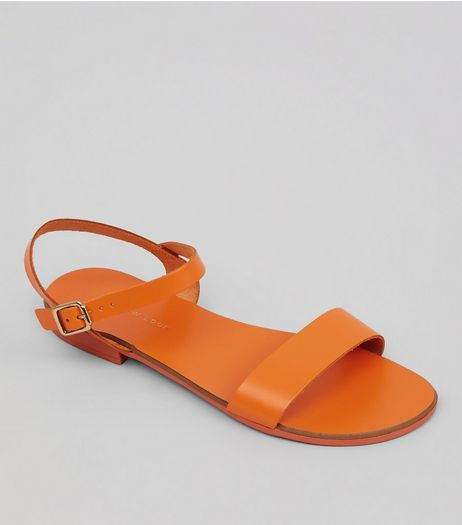 Wide Fit Orange Leather Ankle Strap Sandals | New Look