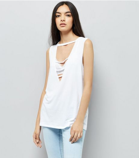 White Triple Strap Front Tank Top | New Look