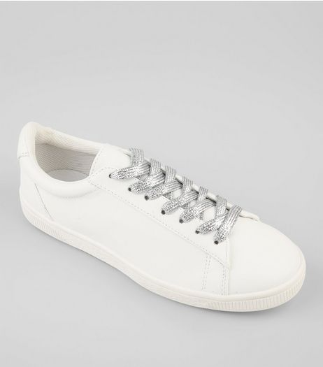 White Lace Up Detail Trainers | New Look