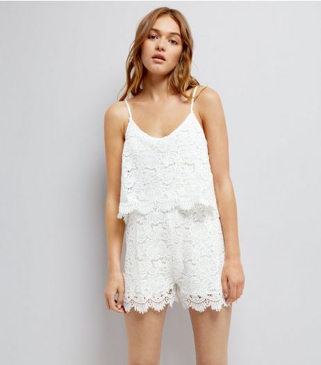 Urban Bliss White Lace Playsuit | New Look