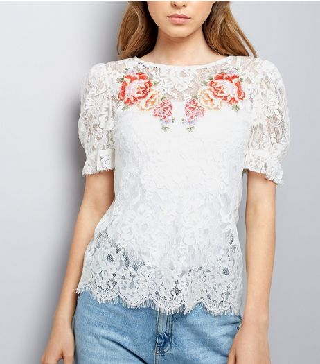 Cream Floral Embroidered Lace Puff Sleeve Top | New Look