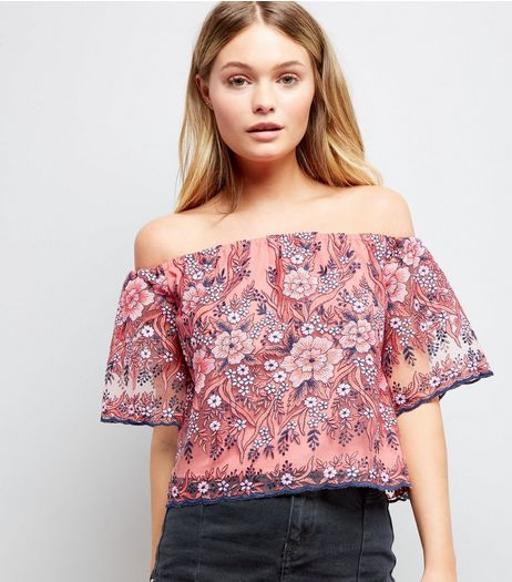 Pink Floral Embroidered Mesh Bardot Neck Top | New Look