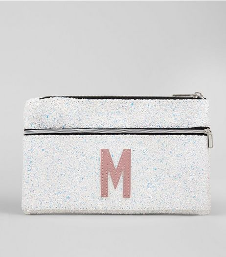 Silver Glitter Initial M Pencil Case | New Look